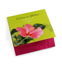 Wedding invitation green hibiscus