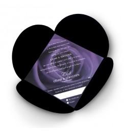 Faire part mariage rose violette