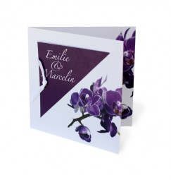 Wedding invitation purple orchid avorio