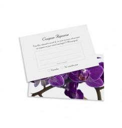 Carton réponse orchidée violette wrap
