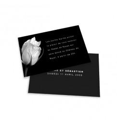 Carton d'invitation rose noir et blanc