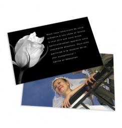 Classic thank you card black and white rose