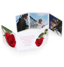 Thank you card triptique rose rayon