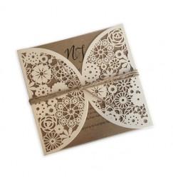 Wedding invitation vintage lace