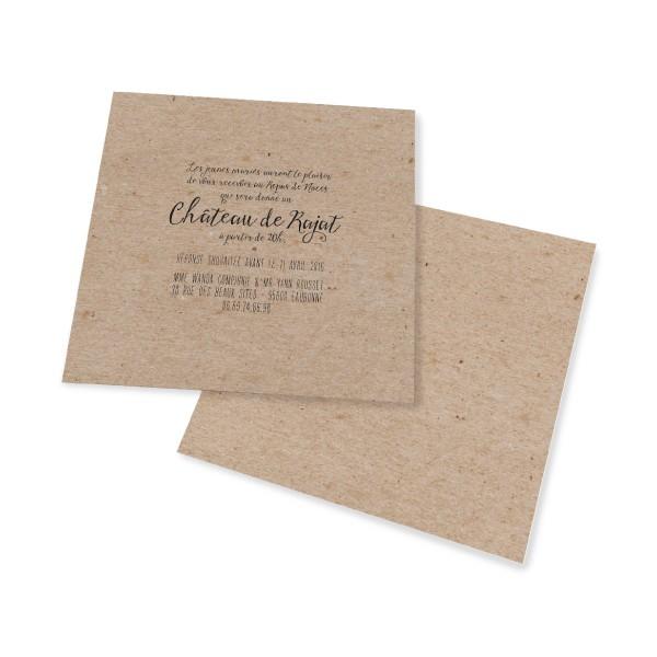 carton d 39 invitation vintage kraft decoupe laser. Black Bedroom Furniture Sets. Home Design Ideas