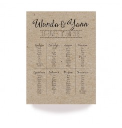 Table plan vintage kraft laser cut