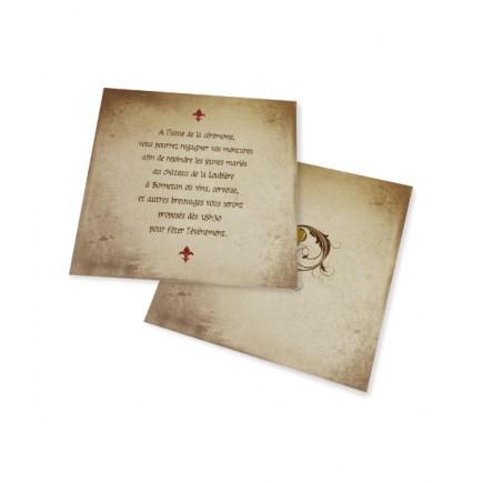 Carton d'invitation mariaghe medieval