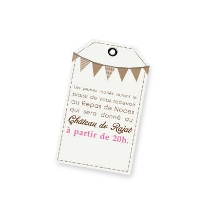 Carton d'invitation fanion rose