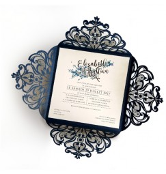 Wedding invitation blue leaves and lace