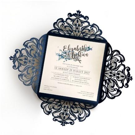 Faire part mariage dentelle feuille bleu