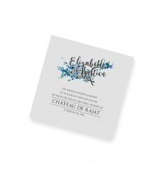 Carton d'invitation dentelle feuille bleu