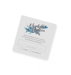 Carton réponse dentelle feuille bleu