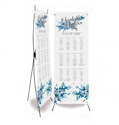 Plan de table mariage dentelle feuille bleu