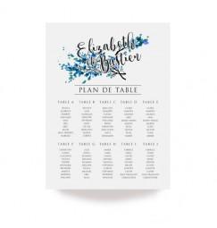 Plan de table dentelle feuille bleu