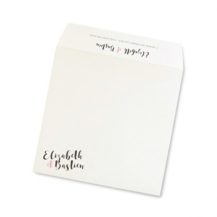 Enveloppe mariage grey pink flower
