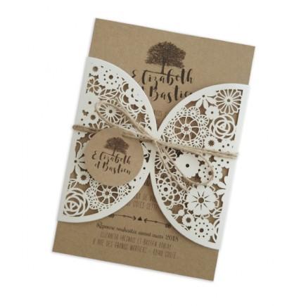 Wedding invitation lace tree