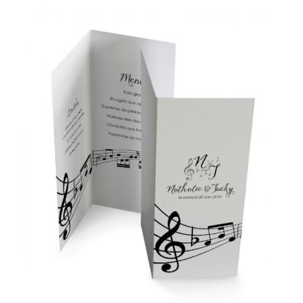 Menu individuel les notes de musique