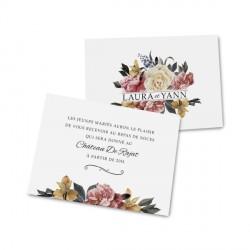 Dinner card black and white rose
