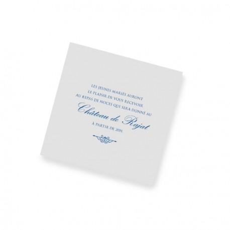 Carton d'invitation dentelle bleu