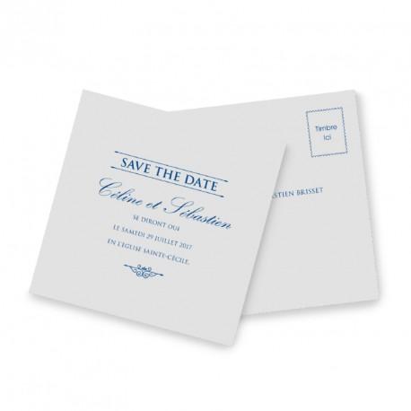Save the date dentelle bleu