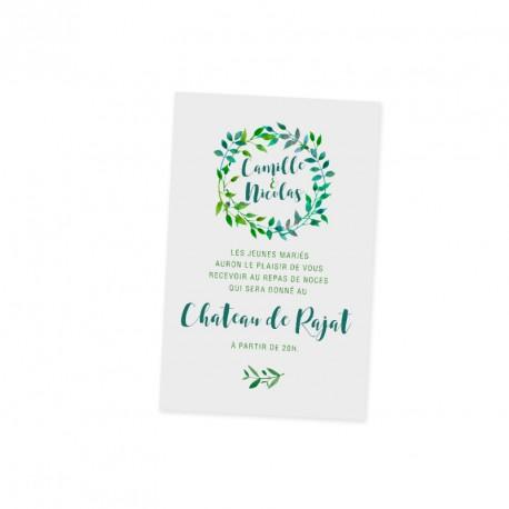 Carton d'invitation feuille verte