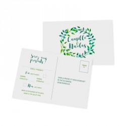 RSVP card green leaves