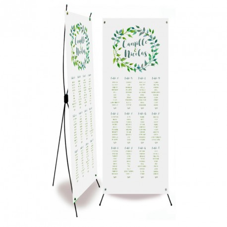 Table plan banner green leaves