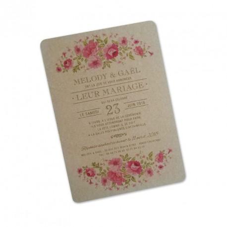 Wedding invitation kraft wild flowers