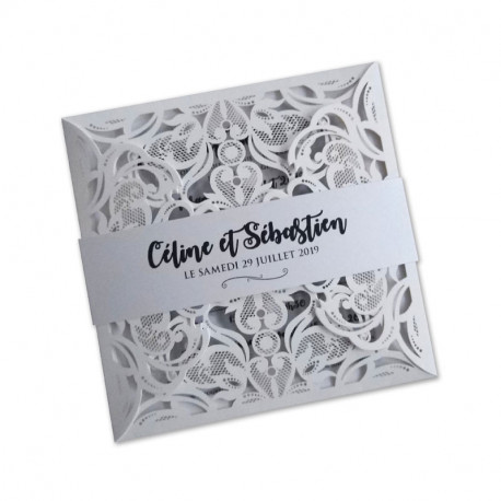 Wedding invitation white lace photomaton