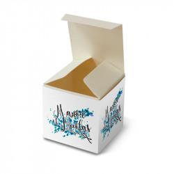 Wedding favour box lace blue leaves