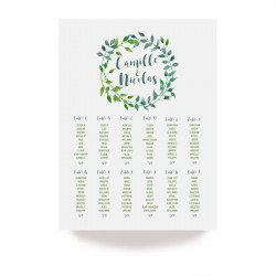 Wedding able plan green leaves
