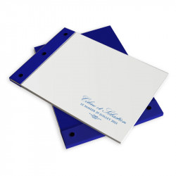 Livre d'or mariage dentelle bleu