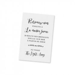 Carton d'invitation champêtre blanc