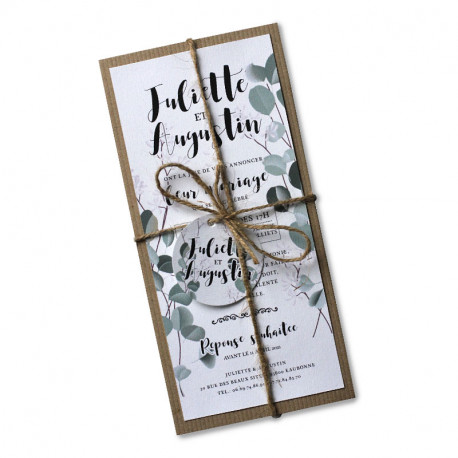 Wedding invitation white champetre