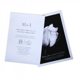 Wedding invitation black and white rose
