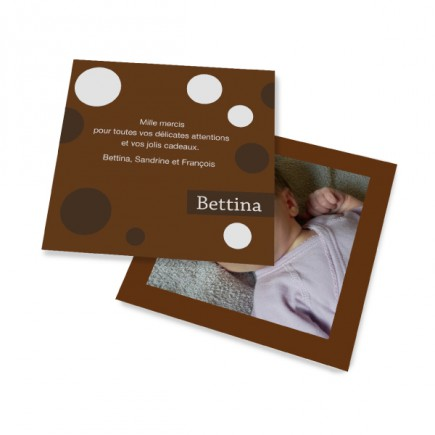 Birth thank you card polka dot