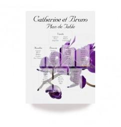 Plan de table orchidée violette wrap