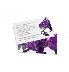 Carton d'invitation orchidée violette wrap