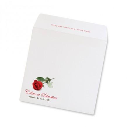 Enveloppe mariage rose rayon