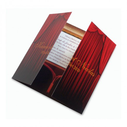 Wedding invitation opening curtain
